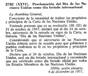 1971-12-06 - Proclamación del Día de las Naciones Unidas como día feriado internacional